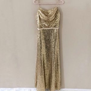 Christina Wu Gold Sequined Dress
